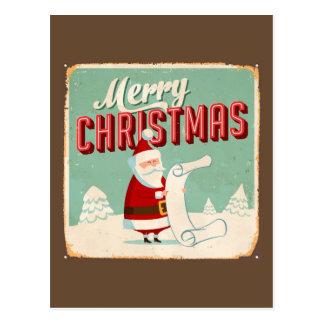 Vintage Metal Sign - Merry Christmas Postcard