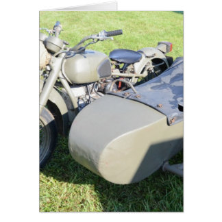 Vintage Military Motorcycle Combination Greeting Card