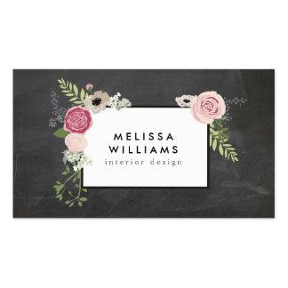 Vintage Modern Floral Motif on Chalkboard Designer Pack Of Standard Business Cards