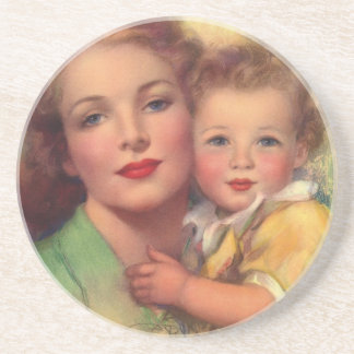 Vintage Mother and Child Family Portrait Coasters