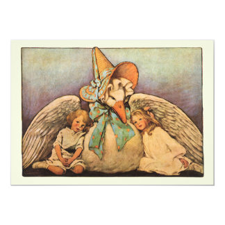 Vintage Mother Goose Children Twins Birthday Party 13 Cm X 18 Cm Invitation Card