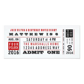 Vintage Movie Ticket Birthday Invitation
