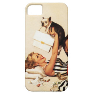 Vintage Naughty Puppy Love Pin Up Girl Case For The iPhone 5