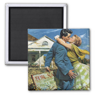 Vintage Newlyweds Buy First House, We're Moving! Square Magnet