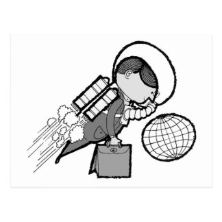 Vintage Office Spaceman Worker Astronaut Postcard