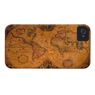 Vintage Old Gold World Map iPhone 4 Case