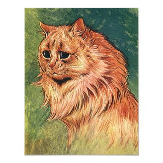 Vintage Pet Animals, Long Haired Orange Cat 11 Cm X 14 Cm Invitation Card