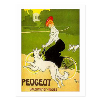 Vintage Peugeot Woman Riding Cycle with Dog Runnin Postcard