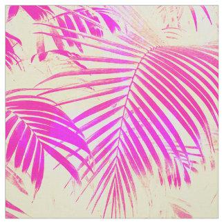 Vintage pink exotic palm tree retro yellow fabric