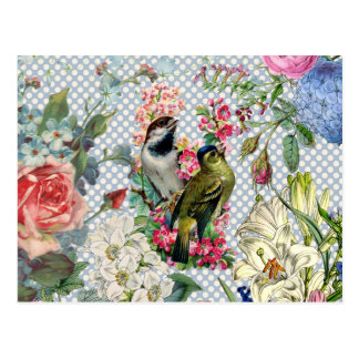 Vintage polka dots bird colorful flowers postcard