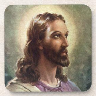 Vintage Portrait of Jesus Christ, Religious People Drink Coasters