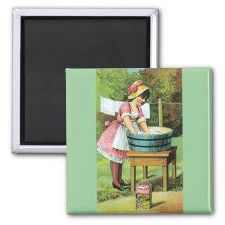 Vintage Poster - Wash Day Square Magnet