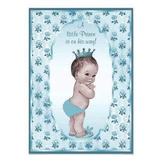 Vintage Prince Boy and Blue Roses Baby Shower 13 Cm X 18 Cm Invitation Card