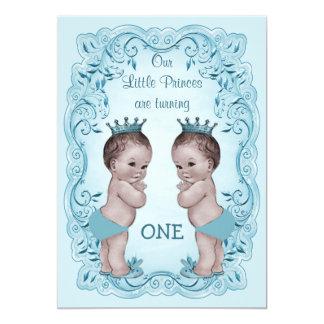 Vintage Prince Boy Twins Ornate Blue 1st Birthday 13 Cm X 18 Cm Invitation Card