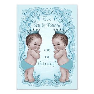 Vintage Princes Boy Twins Ornate Blue Baby Shower 13 Cm X 18 Cm Invitation Card