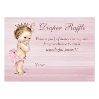 Vintage Princess Baby Shower Diaper Raffle Pack Of Chubby Business Cards