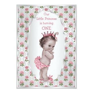 Vintage Princess Pink Roses Silver Baby Birthday 13 Cm X 18 Cm Invitation Card