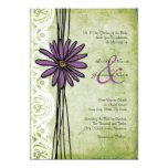 Vintage Purple and Green Daisy Wedding Invitations