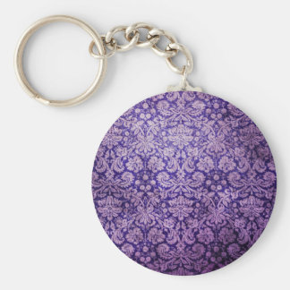 Vintage  Purple Floral  Damask Basic Round Button Key Ring