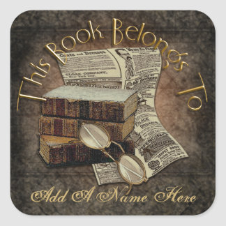 Vintage Reading Bookplate Stickers