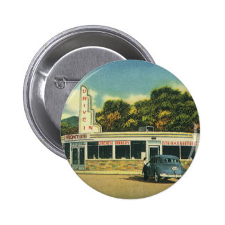 Vintage Restaurant, 50s Drive In Diner and Cars 6 Cm Round Badge