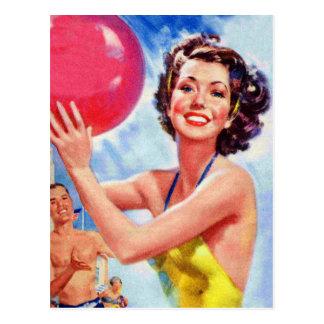 Vintage Retro 60s Beach Ball Girl Kitsch Postcard