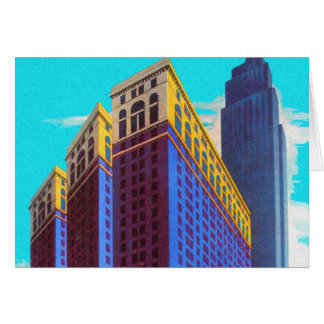 Vintage Retro Architecture Sky Scarper New York Greeting Card