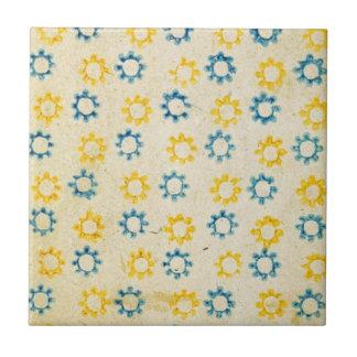 Vintage Retro Blue & Yellow Sun Stencil Texture Small Square Tile