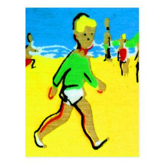Vintage Retro Children Beach Boy Illustration Postcard