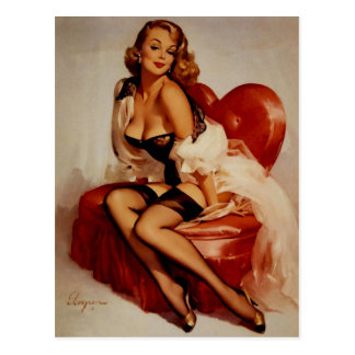 Vintage Retro Gil Elvgren Glamour Pose Pin Up Girl Postcard