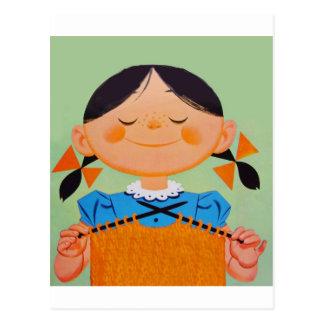 Vintage Retro Girl Knitting Postcard