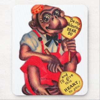 Vintage Retro Kitsch 30s Valentine Chimp Dear Do Mouse Pad