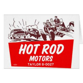 Vintage Retro Kitsch 50s Hot Rod Motors Greeting Card