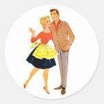 Vintage Retro Kitsch 60s Marriage Newlywed Couple Round Sticker