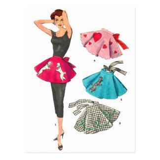 Vintage Retro Women 50s Fashion Poodle Skirt Apron Postcard