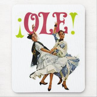 Vintage Retro Women Spainish Flamenco Dancers Ole! Mouse Pad