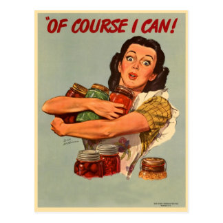 Vintage Retro Women WW2 Of Course I Can! Postcard