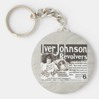 Vintage Revolver Ad Don't Try This At Home Basic Round Button Key Ring