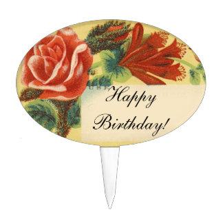 Vintage Rose Happy Birthday! Cake Topper