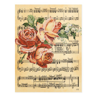 Vintage Rose Trio & Music Postcard