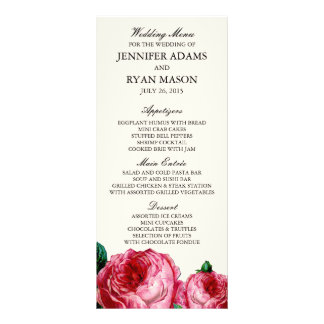 VINTAGE ROSE | WEDDING MENU CUSTOM RACK CARDS