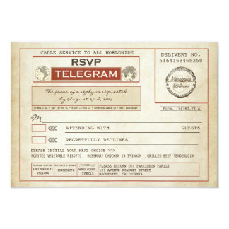 vintage RSVP WEDDING telegrams with meal choice 9 Cm X 13 Cm Invitation Card