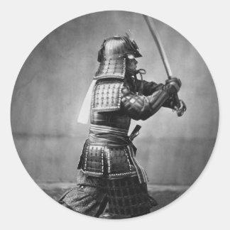 Vintage Samurai with Sword and Dagger Round Sticker