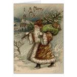 Vintage Santa Claus and Christmas Tree Greeting Card