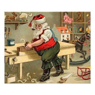 Vintage Santa Claus Christmas Workshop Photo
