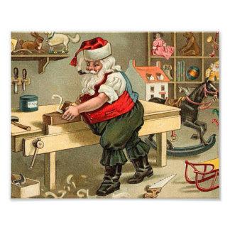 Vintage Santa Claus Christmas Workshop Photographic Print