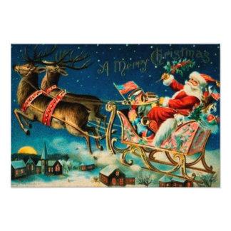 Vintage Santa Claus Sleigh Christmas Holiday Photograph