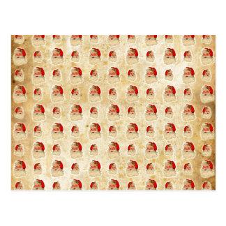 Vintage Santa Head Pattern Postcard