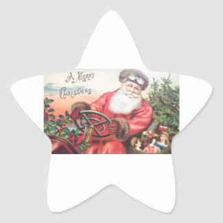 Vintage Santa in his car with the children waiting Star Sticker