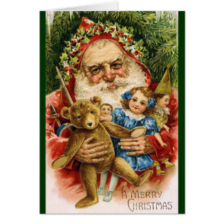 Vintage Santa with Teddy and Dolls Greeting Card